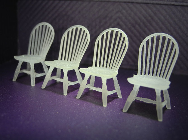 1:48 Hoop Back Windsor Chairs in Smooth Fine Detail Plastic