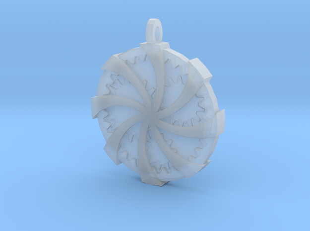 Wrapped Cog Pendant in Smoothest Fine Detail Plastic
