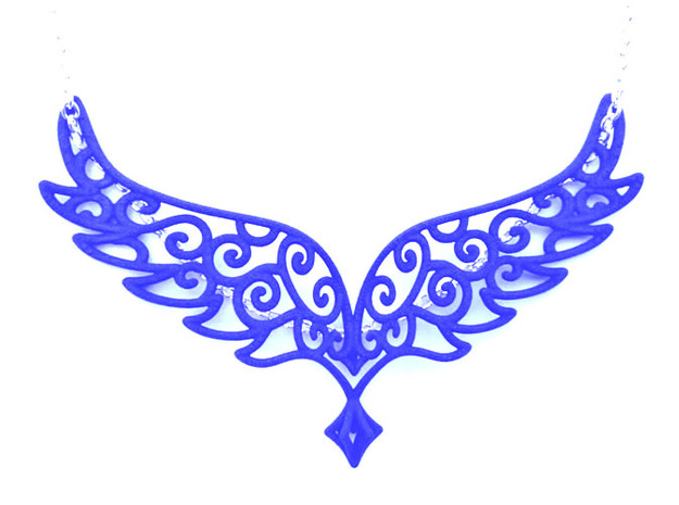 Angel Wings Pendant - in nylon in Blue Processed Versatile Plastic