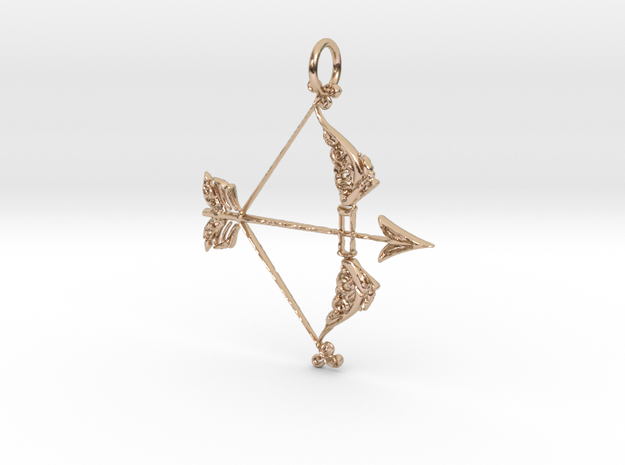 Love and War Pendant in 14k Rose Gold Plated Brass