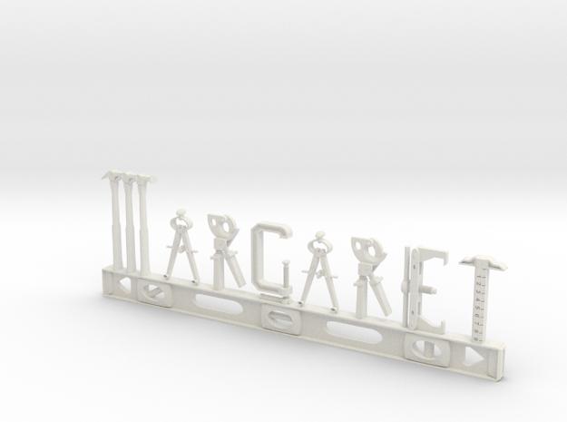 Margaret Nametag in White Natural Versatile Plastic
