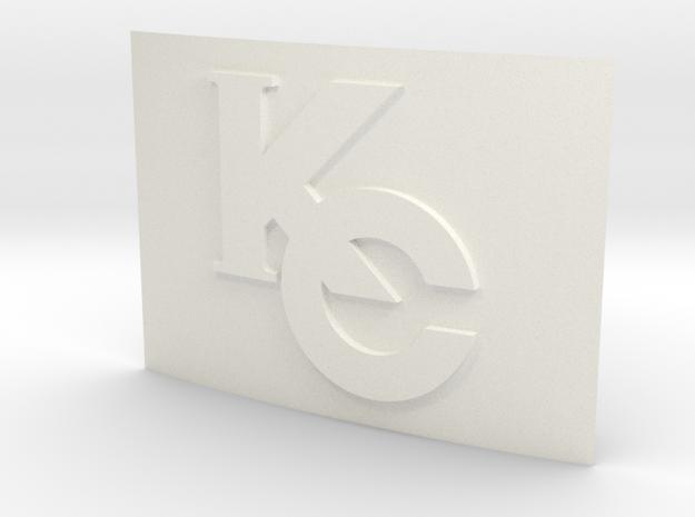 Smaller Kaiba Corp Belt Buckle in White Processed Versatile Plastic
