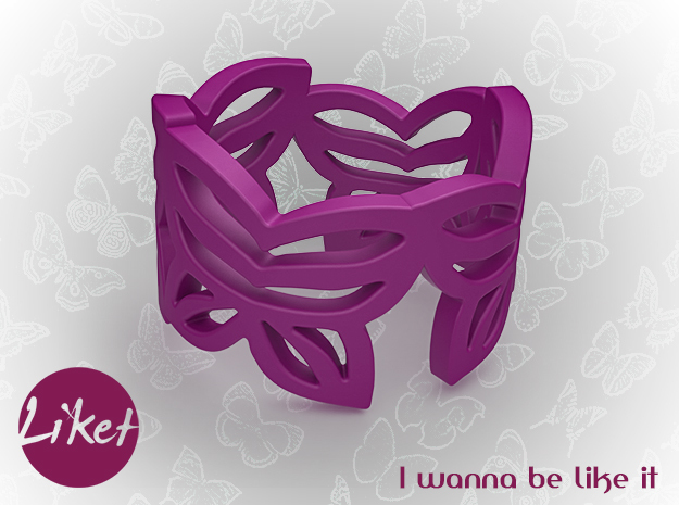 Butterfly leafs ring size 5 in Purple Processed Versatile Plastic