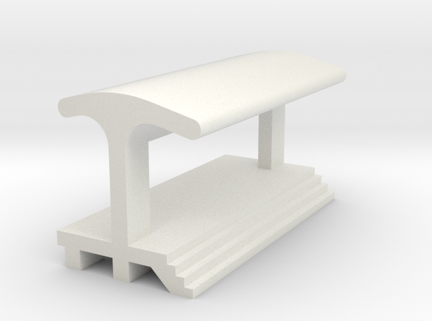 Straight Platform - With Shelter in White Natural Versatile Plastic