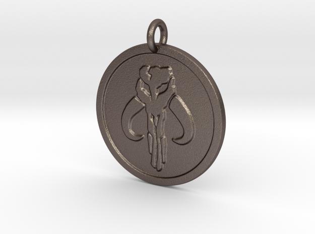 Mandalorian Slave Pendant in Polished Bronzed Silver Steel