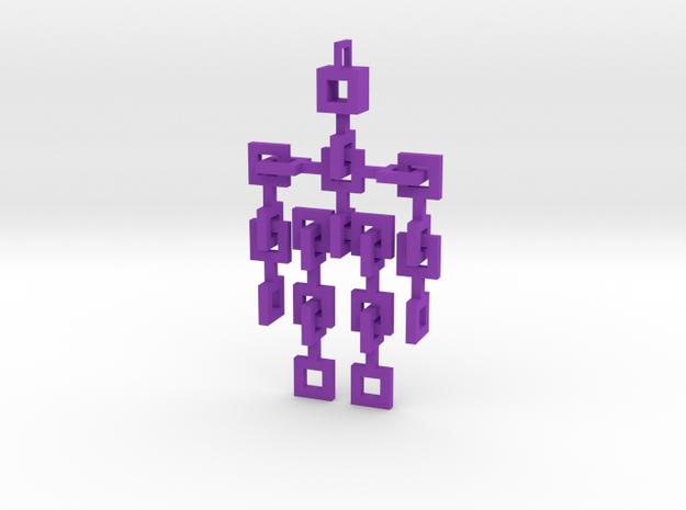 Squared Little Man - Articulated in Purple Processed Versatile Plastic