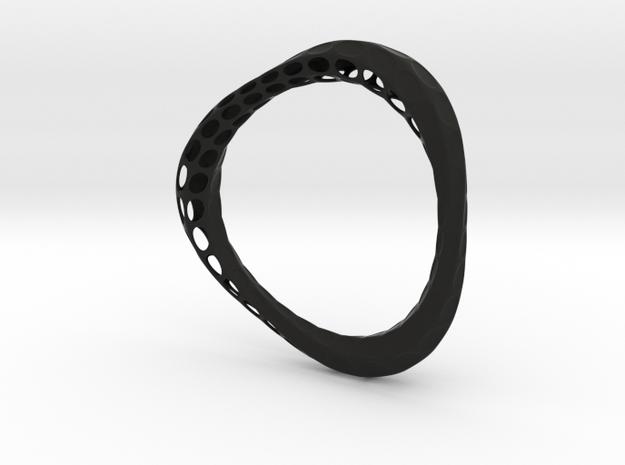 Organic Bangle 1.1 (Ladies 7cm diameter)  in Black Natural Versatile Plastic
