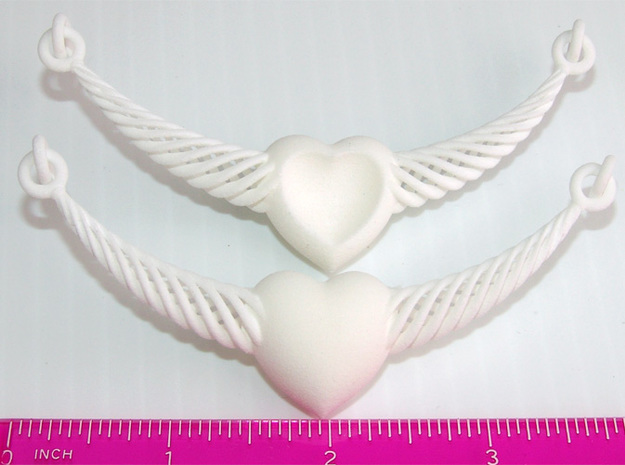 Crescent Heart Pendant 3d printed Crescent Heart Front and Back - Actual Photo