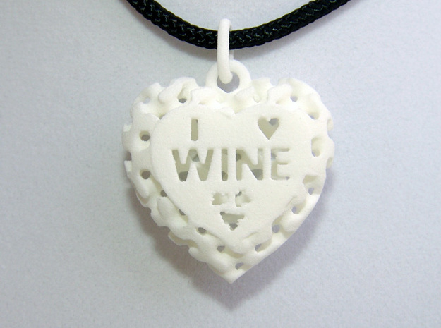Heart Pendant I Love Wine in White Natural Versatile Plastic