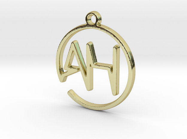 A & H Monogram Pendant in 18k Gold Plated