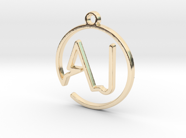 A & J Monogram Pendant in 14k Gold Plated Brass