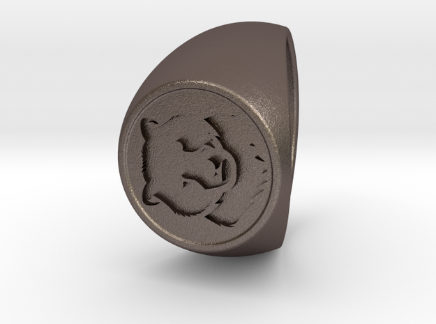 Custom Signet Ring 36 in Polished Bronzed Silver Steel