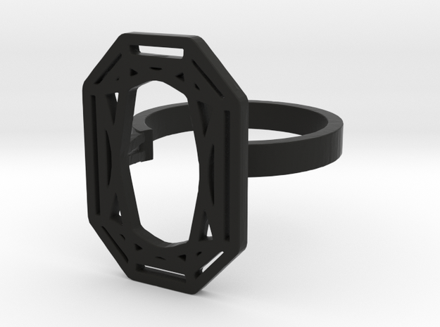 RECTANGLE DIAMOND RING in Black Natural Versatile Plastic: 8 / 56.75