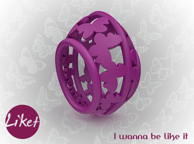 Butterfly freedom ring size 5 in Purple Processed Versatile Plastic