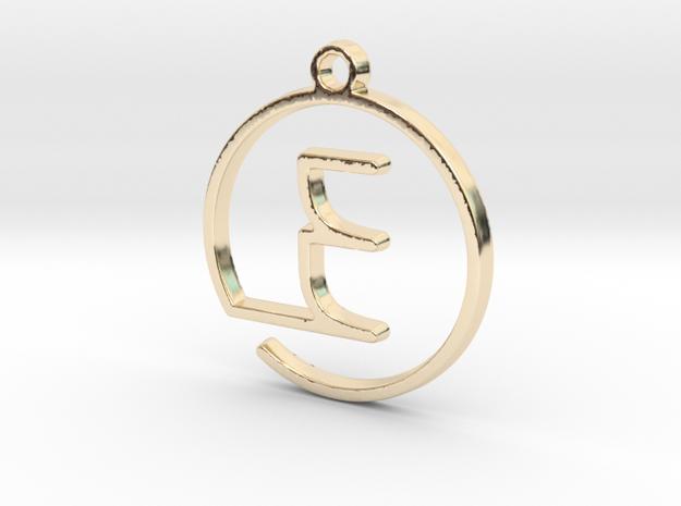 E Monogram Pendant in 14k Gold Plated