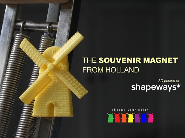 Magnet Windmill in Yellow Processed Versatile Plastic