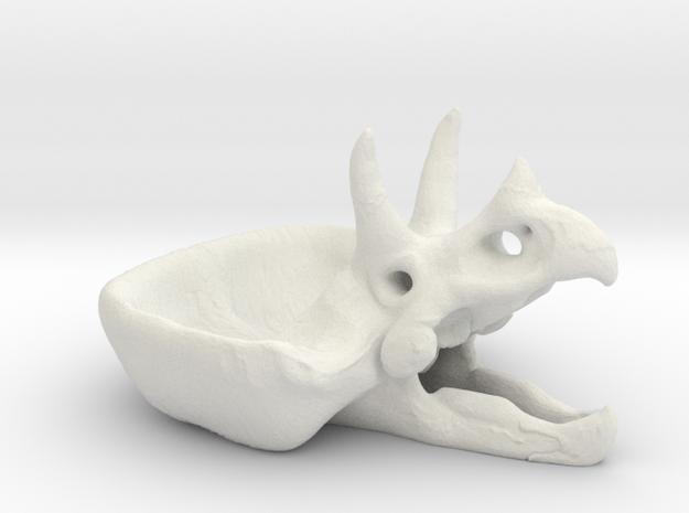 Triceratops Head skull flower pot in White Natural Versatile Plastic
