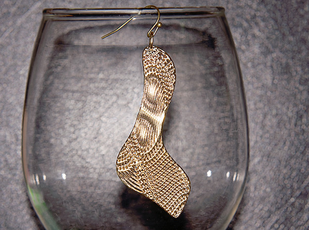 Texture Earring #3 in Natural Brass