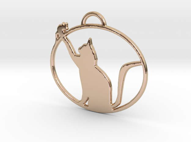 Friendly Cat Pendant in 14k Rose Gold Plated Brass