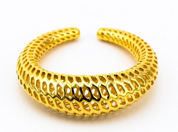 Dragontales Strutura, Bracelet Thick, Medium Size, in 18k Gold Plated: Medium