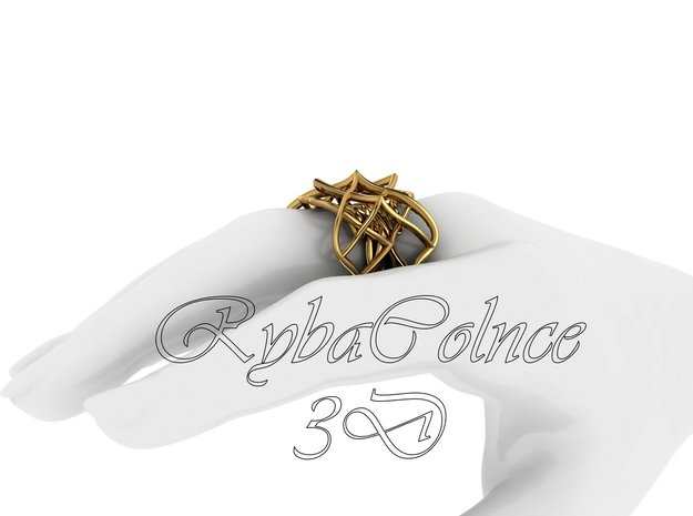 Ring The pattern ll / size 9US (18.9mm) in Polished Brass