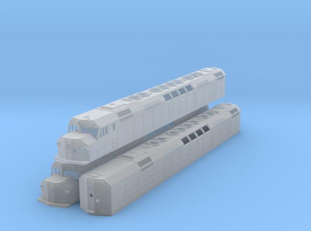 N Scale F40DDPH w/Waffle Side Panels (3 Pack) in Smooth Fine Detail Plastic