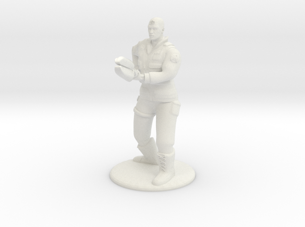 Soldier With Staff - 20 mm in White Natural Versatile Plastic