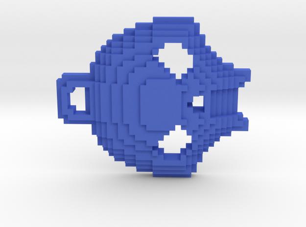 Pixelated Skull Keychain in Blue Processed Versatile Plastic