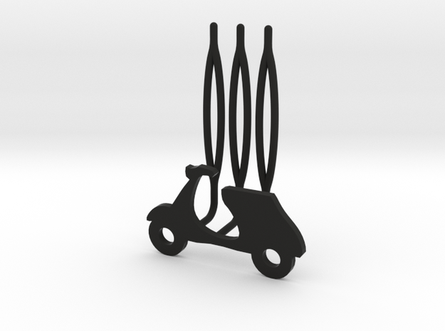 Scooter decorative hair comb - small size in Black Natural Versatile Plastic