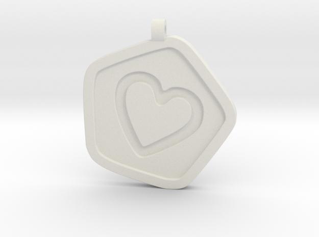 3D Printed Bond What You Love Pendant in White Natural Versatile Plastic