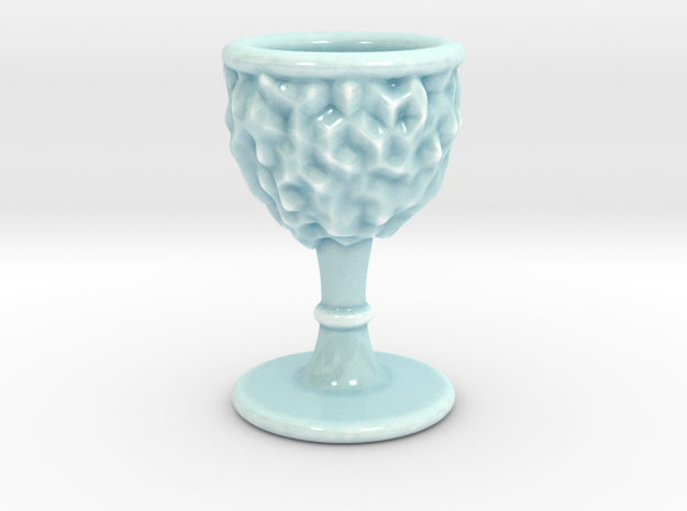 DRAW goblet - inverted geode with stem in Gloss Celadon Green Porcelain: Small