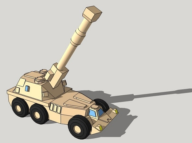 """3mm SADF G6 """"Rhino"""" Wheeled Howitzers (12 pcs) in Smooth Fine Detail Plastic"""