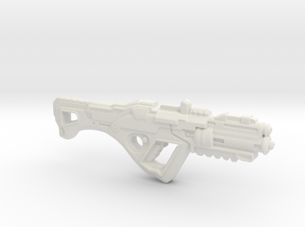 1:6th Scale 'Falcor' Assault Rifle 132mm Length in White Strong & Flexible