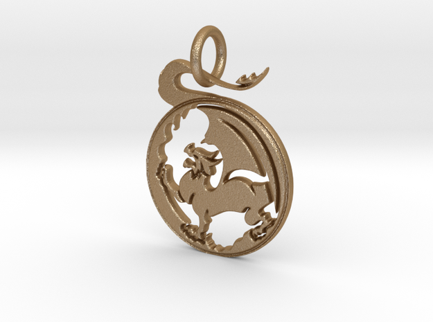 Dragon  Pendant and Keychain in Matte Gold Steel