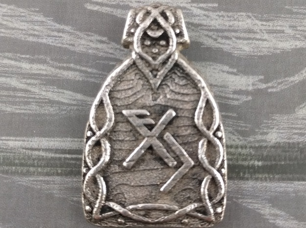 Luck Pendant in Polished Bronzed Silver Steel