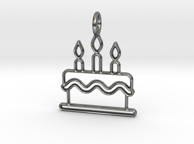 Birthday Cake in Fine Detail Polished Silver