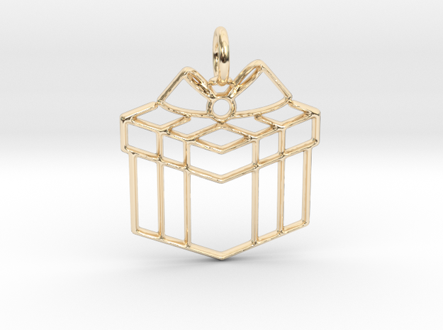 Present Pendant in 14k Gold Plated Brass