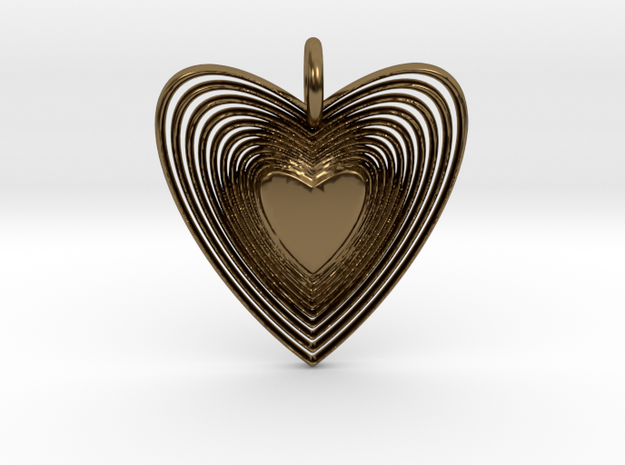 Pendant of Heart (No.2) in Polished Bronze