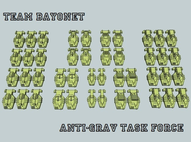 """Team Bayonet"" 3mm Anti-Grav Task Force (44pcs) in White Acrylic"
