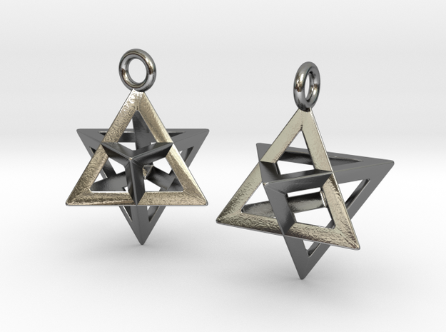 Merkaba 15 Pair in Polished Silver