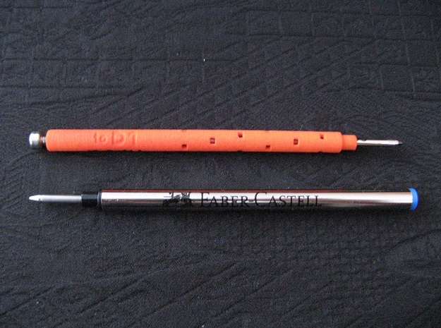 Pen Refill Adapter: Euro RB to D1 Mini (Adjust) in Orange Strong & Flexible Polished