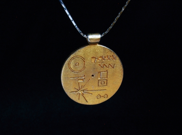 Golden Record Pendant in Polished Gold Steel
