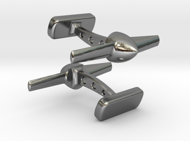 Propeller Cufflinks in Polished Silver