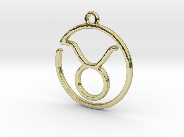 Taurus Zodiac Pendant in 18k Gold Plated Brass