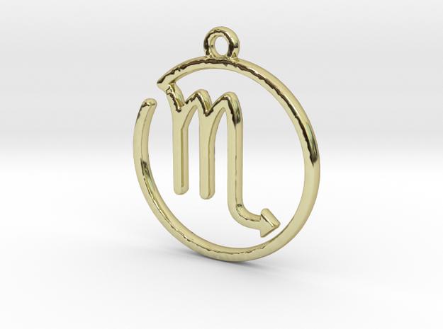 Scorpio Zodiac Pendant in 18k Gold Plated Brass