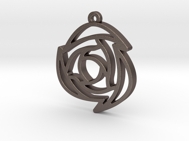 Rose Pendant B in Polished Bronzed Silver Steel