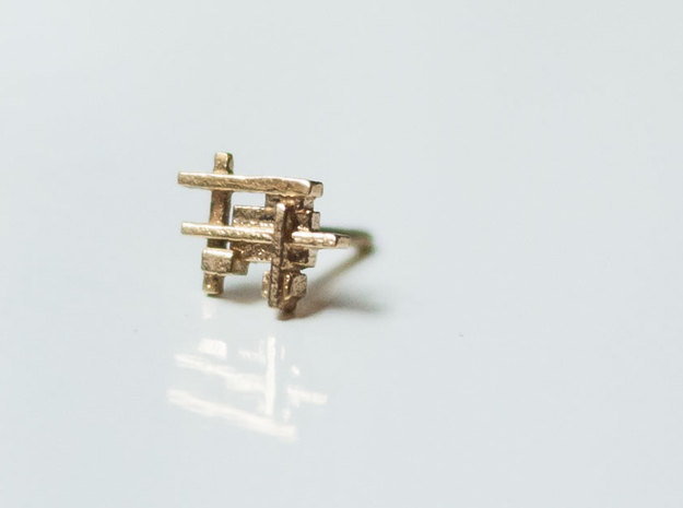 Squares and Bars Earring in Natural Brass