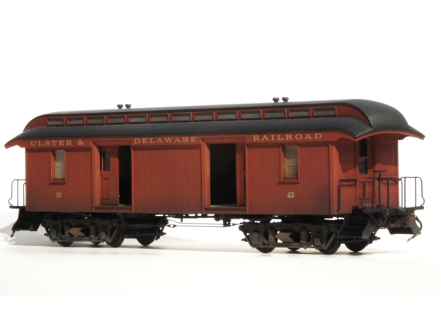 """46' Wood Baggage Car U & D RR S Scale 1/64 3/16"""" in Smooth Fine Detail Plastic"""
