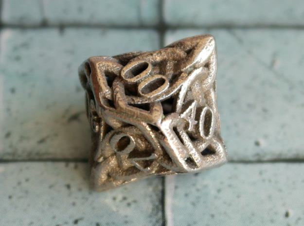 Celtic Percentile D10 in Polished Bronzed Silver Steel