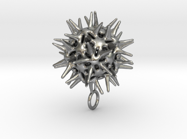 Radiolarian protozoa pendant in Raw Silver